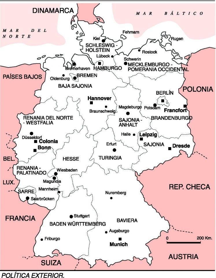 Mapa Politico De Alemania Actual.Alemania Como Estado Federal