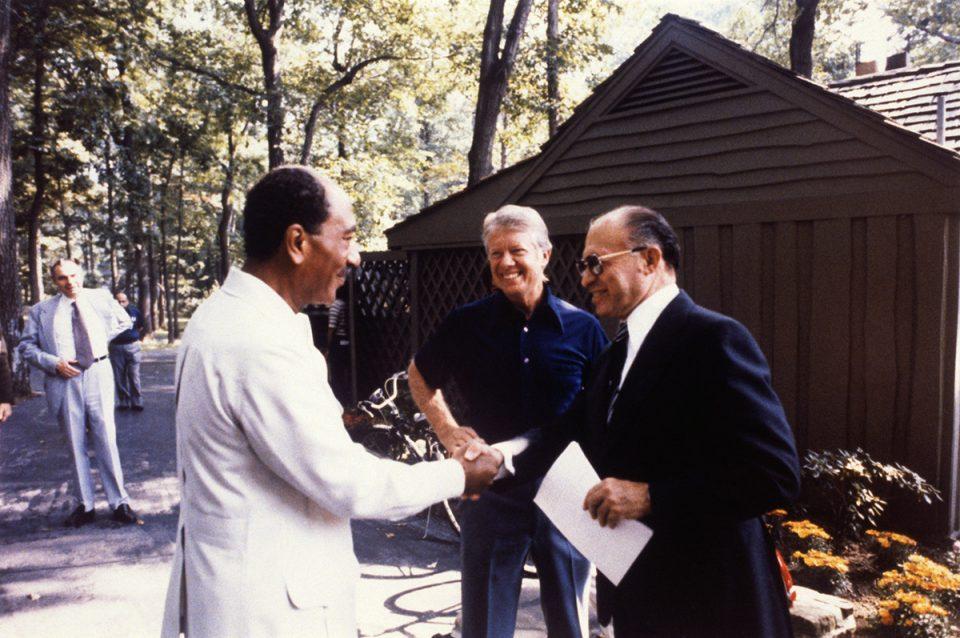 Menachem Begin and Anwar Sadat Shaking Hands