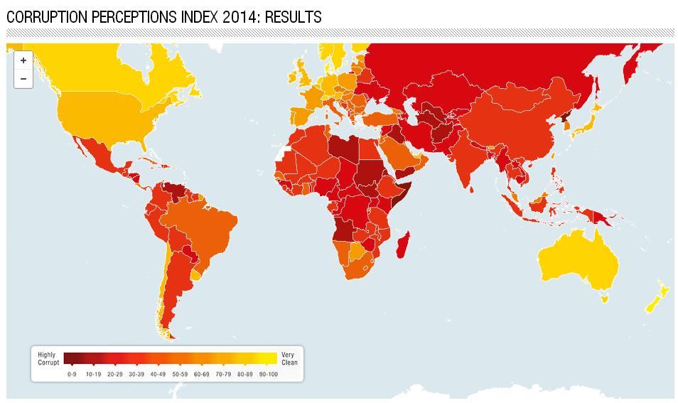 Mapa de percepción de la corrupción de Transparencia Internacional 2014