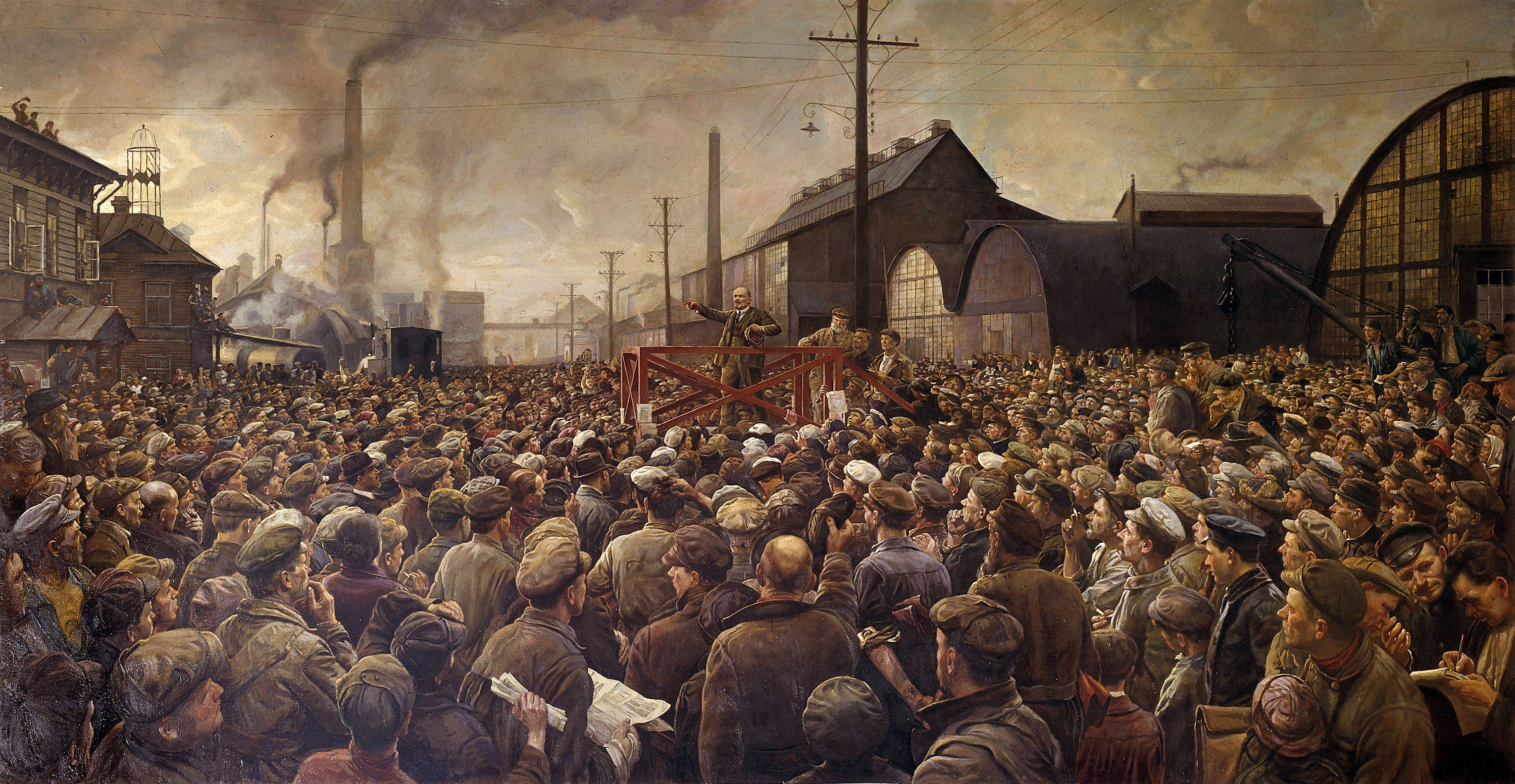 Lenin speaking to the workers of the Putilov factory by Isaak Brodsky