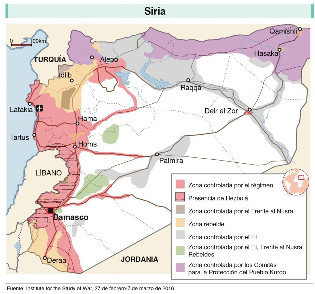 Mapa de la guerra en Siria